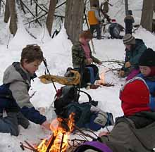 Photo of Macoun members making lunch fires