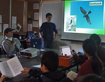 Photo of Carlos Barbery explaining fieldmarks
