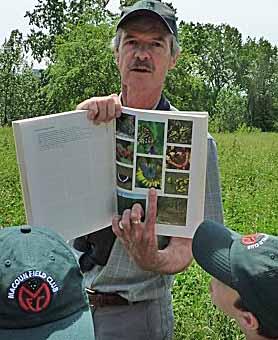 Photo of members identifying butterflies in the field