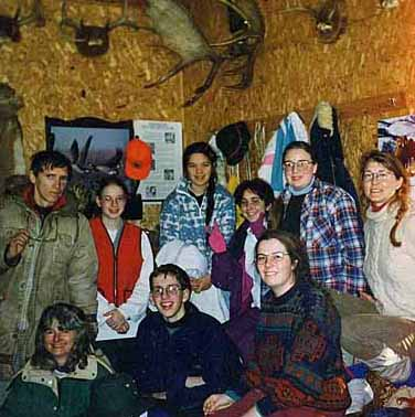 Photo of Macouners keeping warm in Gerry Lees cabin