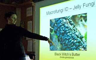 photo of leader Annie Belair explaining fungi