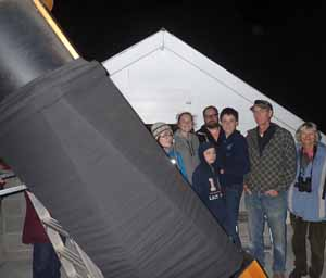 Photo of Macoun Club group gathered around the telescope