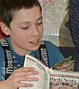 Photo of boy looking in field guide