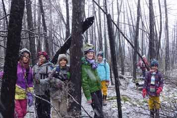photo of group standing among fire-killed trees