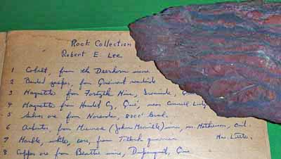 Photo of rock specimen with catalogue