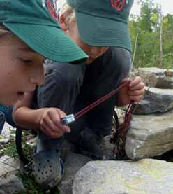 Photo of two Macoun Club members scanning limestone for fossils