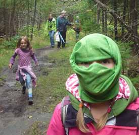 Photo of girl in impromptu ninja mask