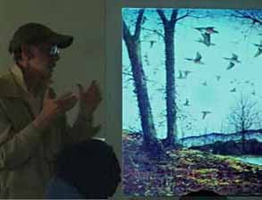 Photo of Rob Lee with image of Passenger Pigeons