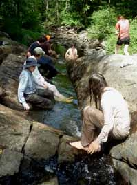 Photo of group in a shrunken creek