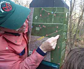 Photo of Rob tracing our route on NCC waypoint map