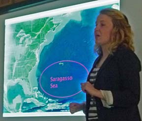 Photo of Lauren Stoot and map showing Sargasso Sea