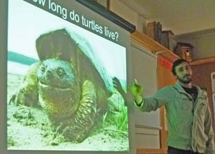 Photo of James Paterson and close-up of Snapping Turtle