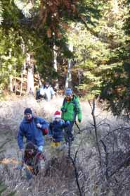 Photo of group crossing a beaver meadow