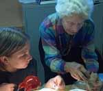 Macoun member Madeleine Levac learning from leader Martha Camfield