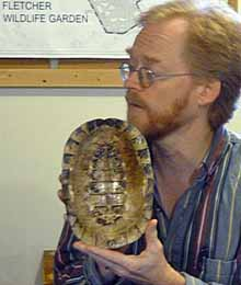Photo of Dave Seburn showing the indside of a turtle shell